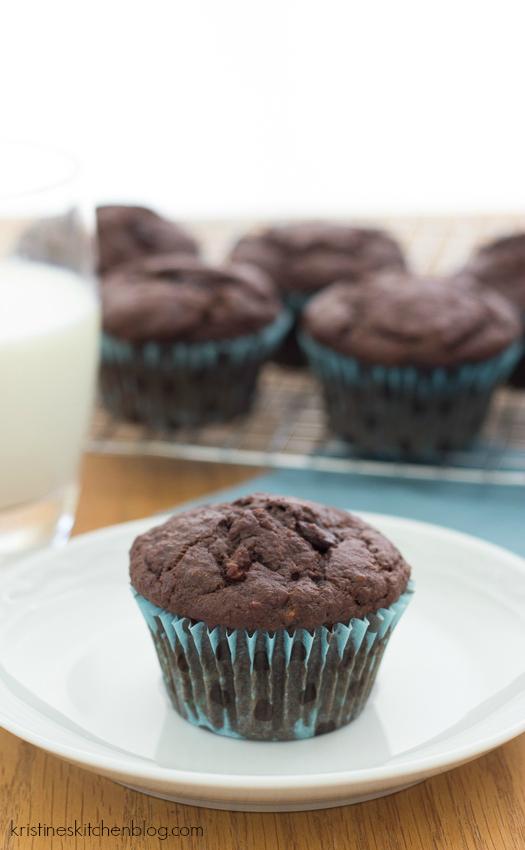 Triple Chocolate Banana Muffins (whole-wheat!) | Kristine's Kitchen