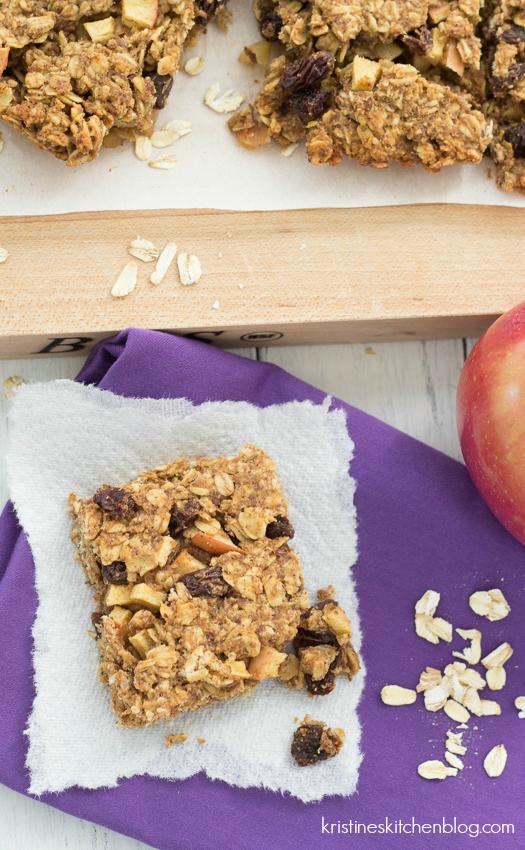Apple, Cinnamon, and Raisin Granola Bars - a chewy, healthy snack! - Kristine's Kitchen