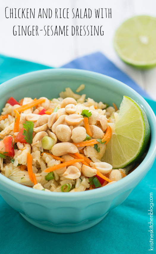 Chicken and Rice Salad with Ginger-Sesame Dressing - You will love this flavorful, healthy dish! | Kristine's Kitchen
