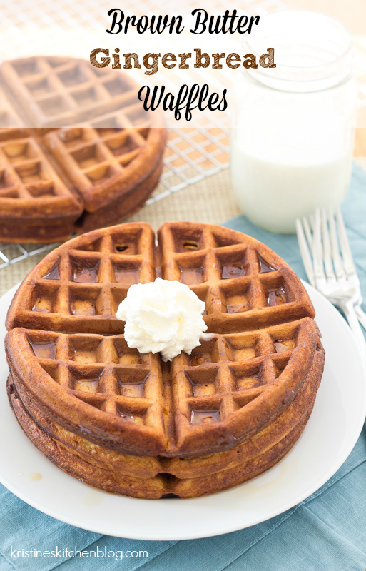 Light and tender inside, crisp on the outside, these Brown Butter Gingerbread Waffles are the BEST! | Kristine's Kitchen