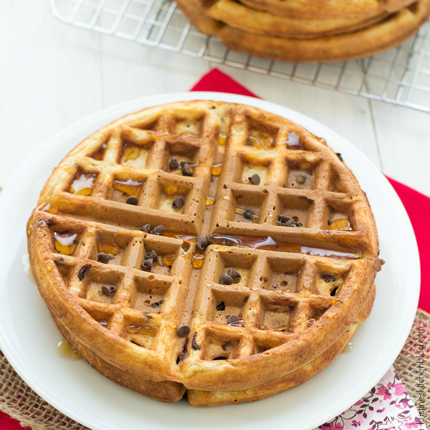 Healthy Chocolate Chip Waffles - crisp on the outside, soft on the inside! Freezer-friendly.