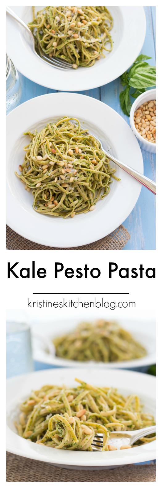 collage image for pinterest of kale pesto pasta