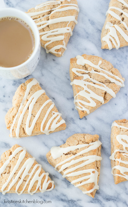 Maple-Glazed Cinnamon Scones - light and tender spiced scones with a sweet glaze are a breakfast treat!