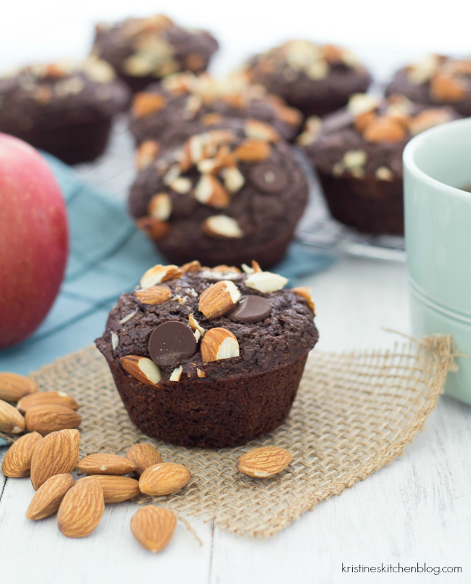 chocolate muffin topped with almonds and chocolate chips