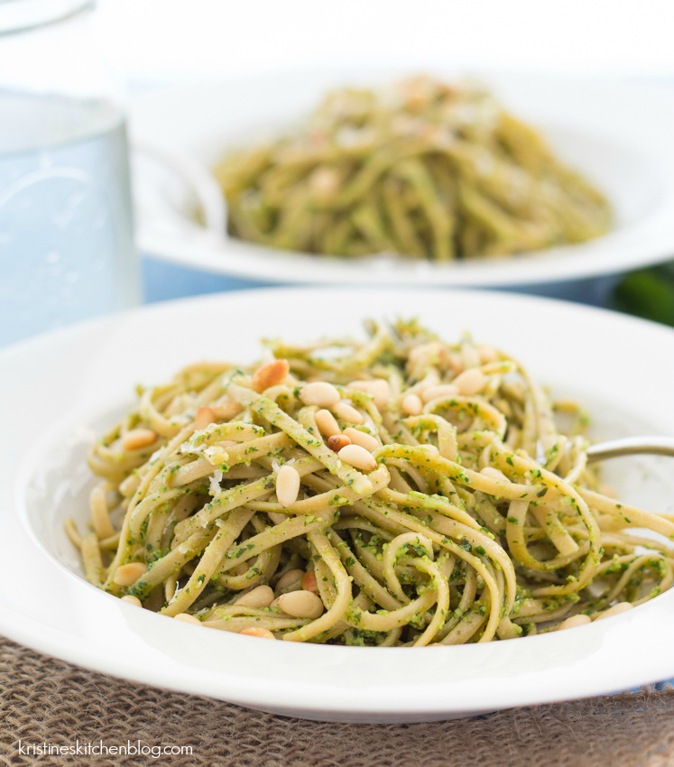 kale pesto pasta on a plate