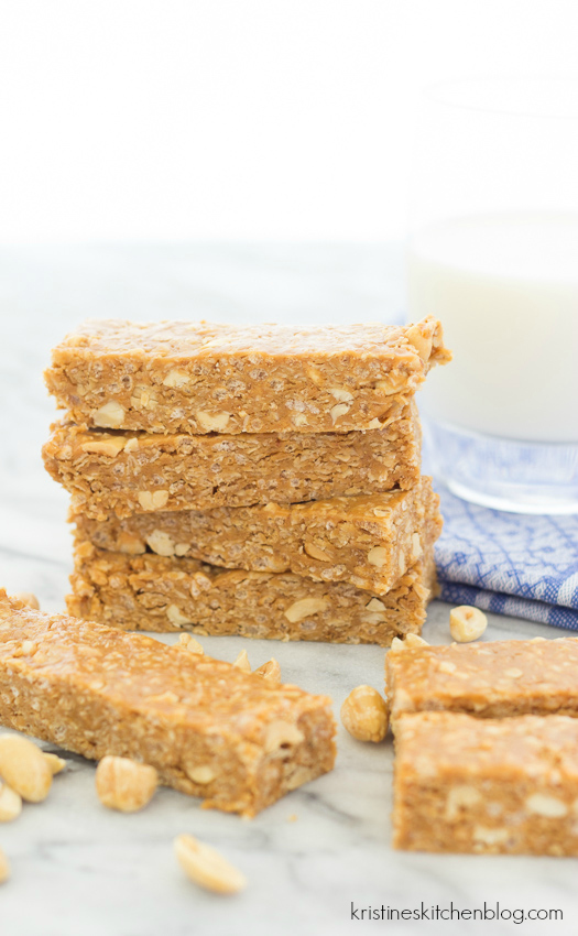 No Bake Nutty Peanut Butter Granola Bars - rich peanut butter bars you can make in 10 minutes!