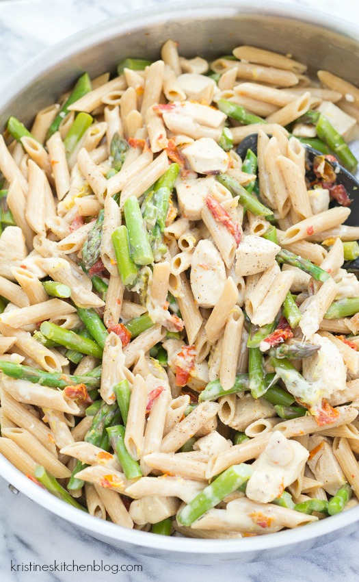 Creamy Lemony Pasta with Chicken and Asparagus - an easy one-pot skillet meal.
