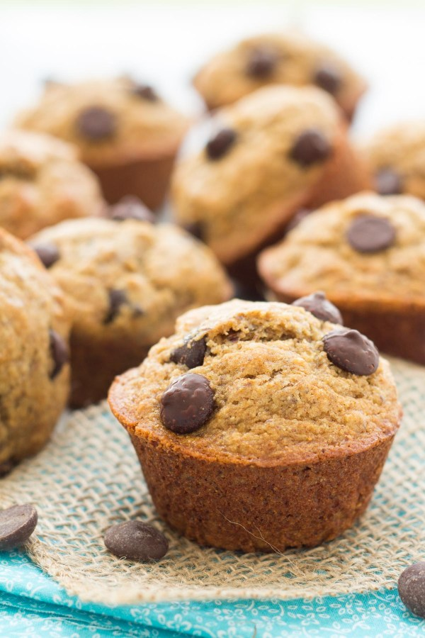 Close up of almond butter banana muffins with chocolate chips.