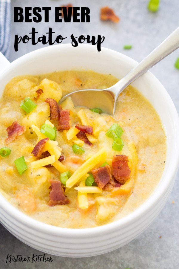 Potato soup in a bowl with a spoon, bacon and cheese.