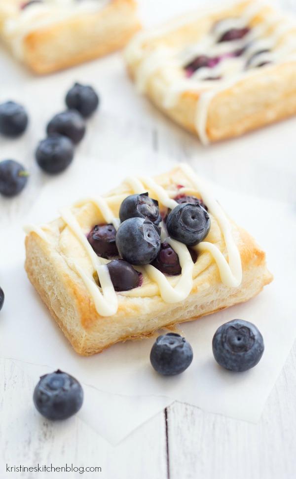 homemade cream cheese danish topped with blueberries