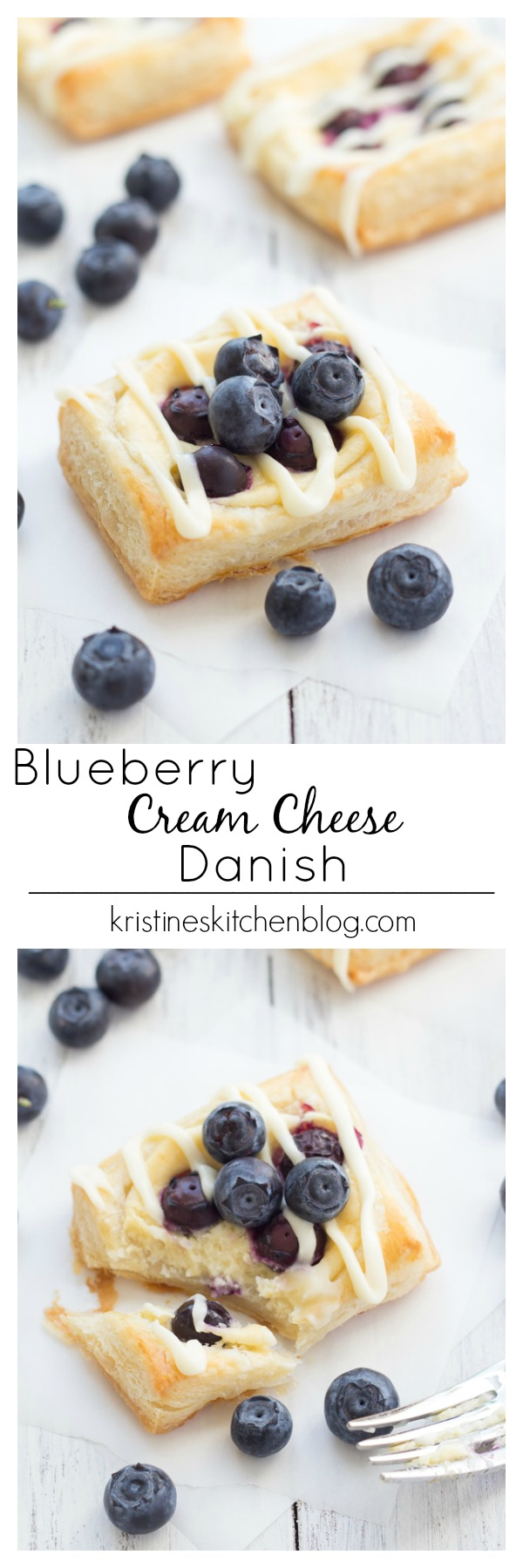 Blueberry Cream Cheese Danish - easy to make with puff pastry and a Greek yogurt and cream cheese filling!