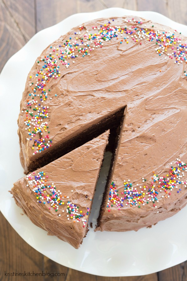 Chocolate Birthday Cake, with a light and fluffy chocolate frosting!