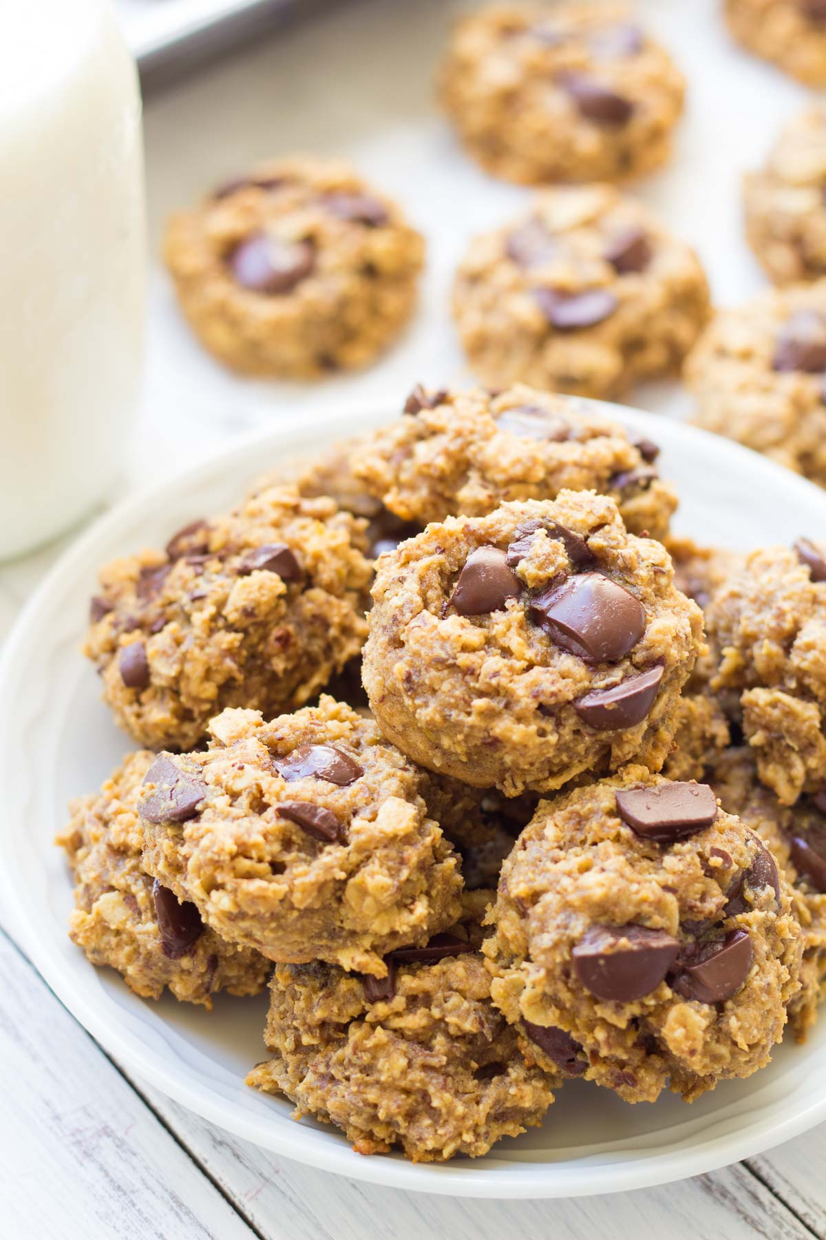 healthy peanut butter oatmeal cookies stacked on a plate