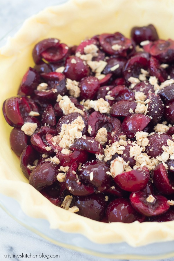 Juicy cherry pie with almond oat crumble! Like a pie and a crisp in one!