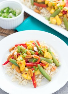 Just 30 minutes to make this healthy, spicy Kung Pao Stir-Fry with Summer Squash!