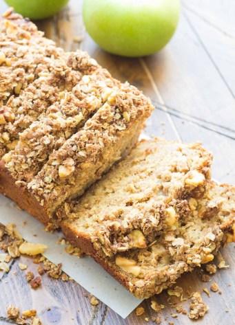 sliced loaf of apple bread