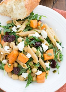 pasta with roasted sweet potatoes and arugula