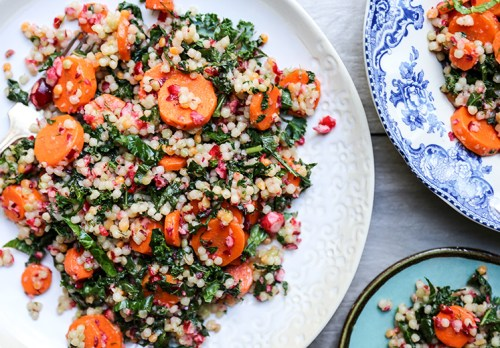 Couscous carrot kale salad