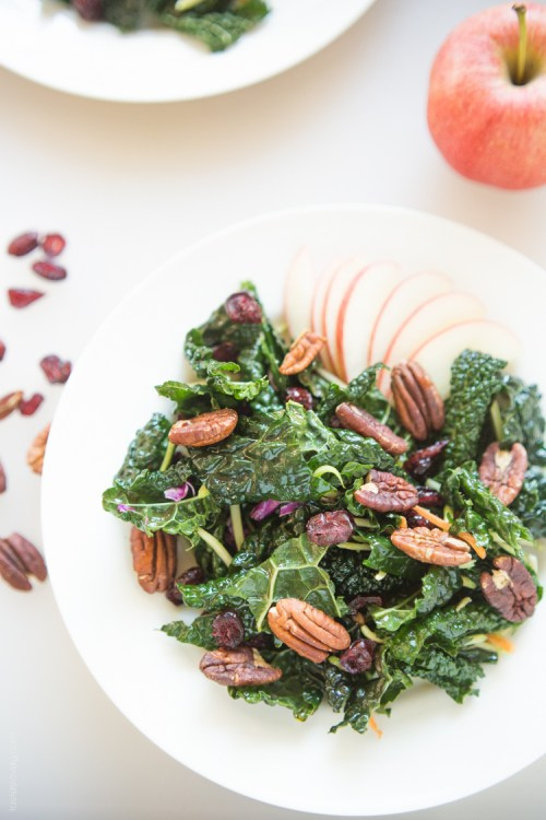 winter kale salad with apple and pecans