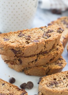 Cinnamon Dark Chocolate Chip Biscotti – these crunchy cookies are so good with a cup of coffee or tea! Made with white whole wheat flour, for a healthier treat!
