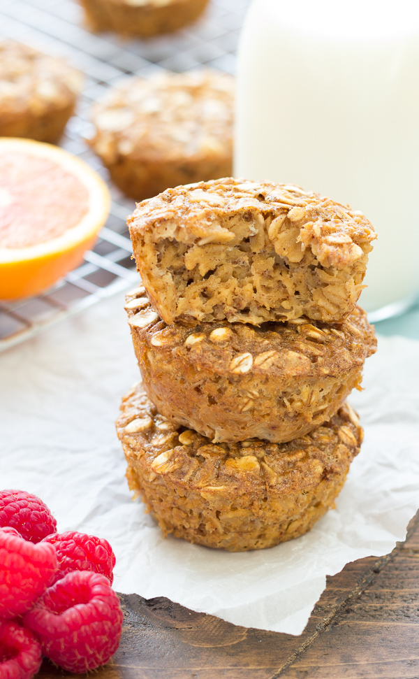 three gingerbread oatmeal muffins stacked