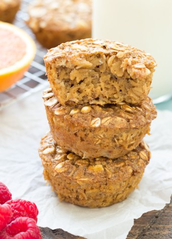 Easy Gingerbread Baked Oatmeal Cups that you can make ahead for busy mornings! These breakfast bites are made with molasses, spices, and pure maple syrup. Freezer-friendly!