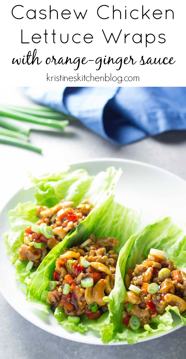 Cashew Chicken Lettuce Wraps with Orange-Ginger Sauce. A healthy dinner that's ready in just 30 minutes! You'll love these homemade asian lettuce wraps!