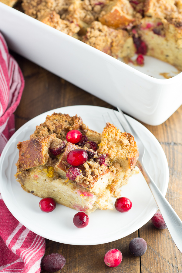 Overnight Cranberry Orange French Toast Casserole – a special breakfast that's perfect for Christmas morning or any weekend! Made with whole wheat bread, milk, and a combination of maple syrup and brown sugar, this french toast bake is just a little bit healthier without sacrificing on flavor.