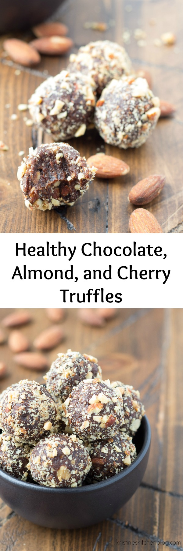 These Chocolate, Almond, and Cherry Truffles are made with just 5 ingredients, including dates and dried cherries. I like to snack on these healthy cocoa truffles when a sweets craving hits! A healthier treat for your Christmas dessert table!