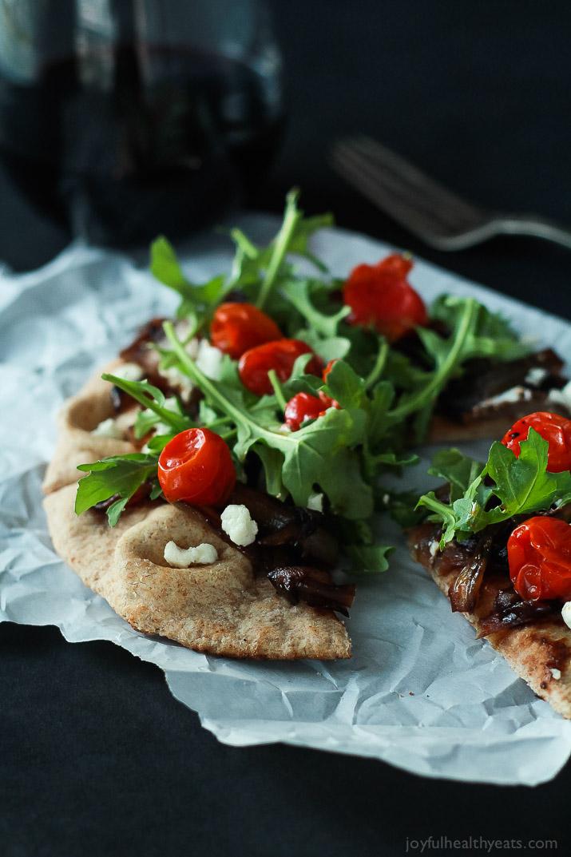 Balsamic-Caramelized-Onion-Goat-Cheese-Pita-Pizza-with-Arugula-4