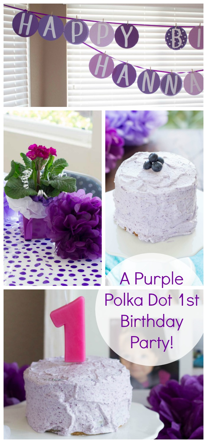A purple polka dot first birthday party! Plus a healthier smash cake recipe, whole wheat and refined sugar free.