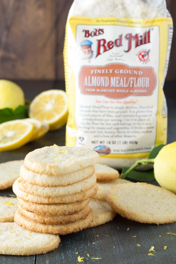 Easy Lemon Almond Flour Shortbread Cookies, with a package of almond meal/flour.