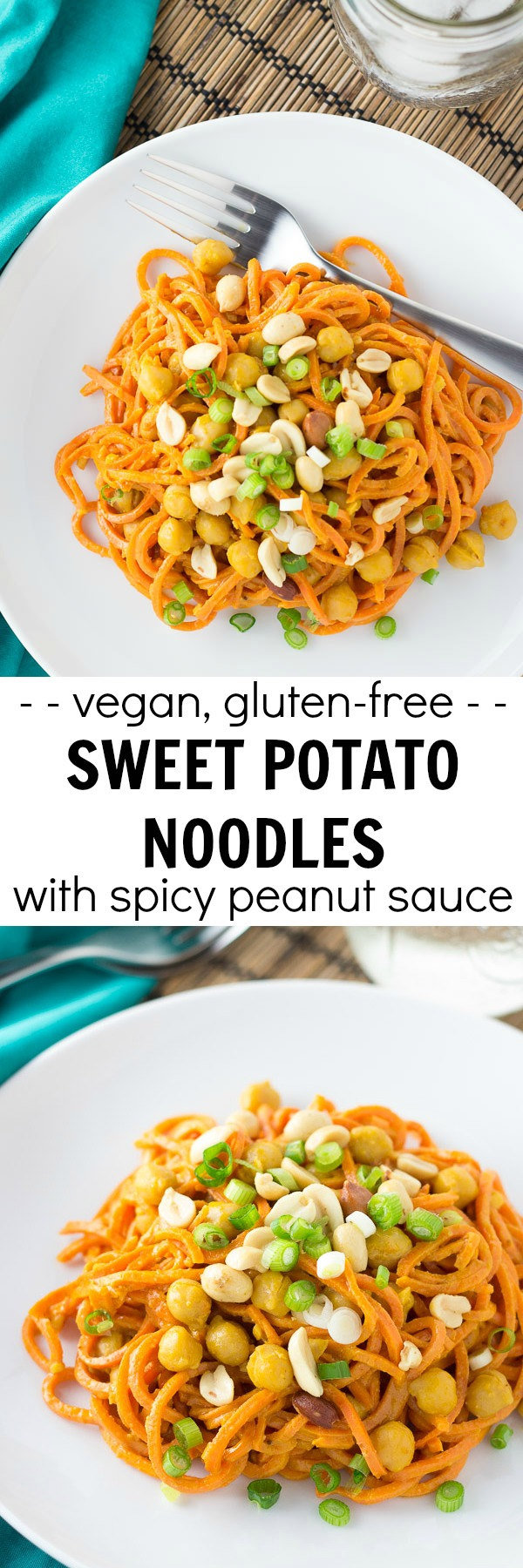 Sweet potato noodles with spicy peanut sauce and chickpeas. An easy one pot meal that's ready in 30 minutes! Your spiralizer makes this healthy, vegan, and gluten free dinner so quick and easy!