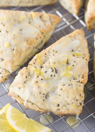 glazed lemon scone ready to eat on cooling rack