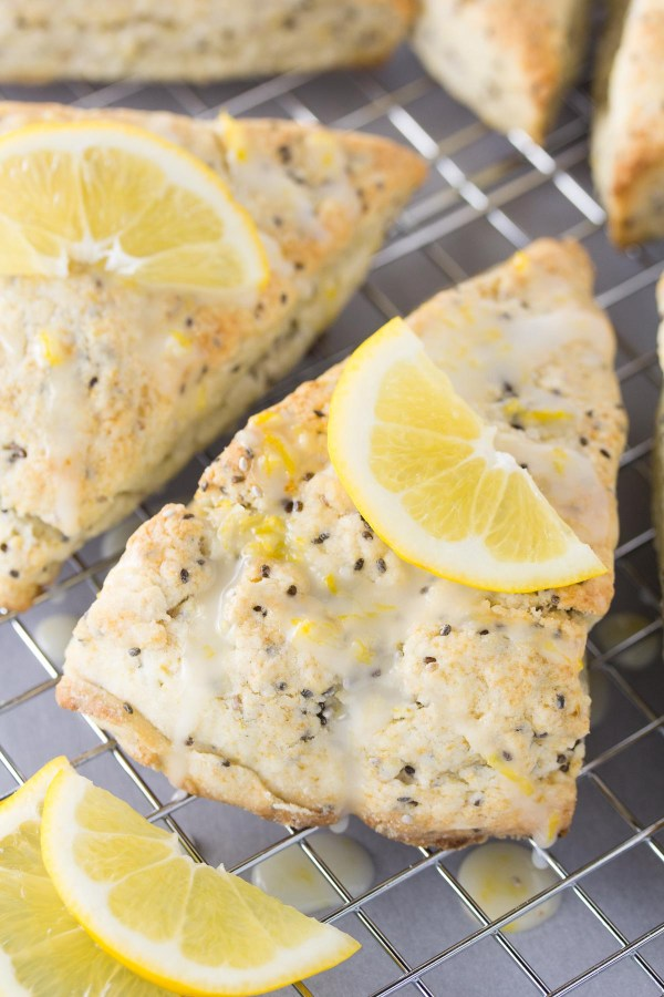 An easy recipe for Lemon Cream Scones with Chia Seeds. Enjoy these light and tender citrus scones for brunch or dessert!