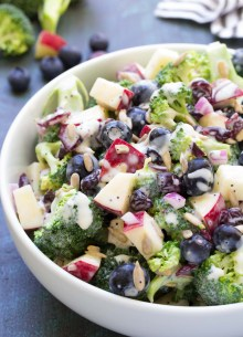 Broccoli salad with apple and blueberries and a creamy homemade dressing.