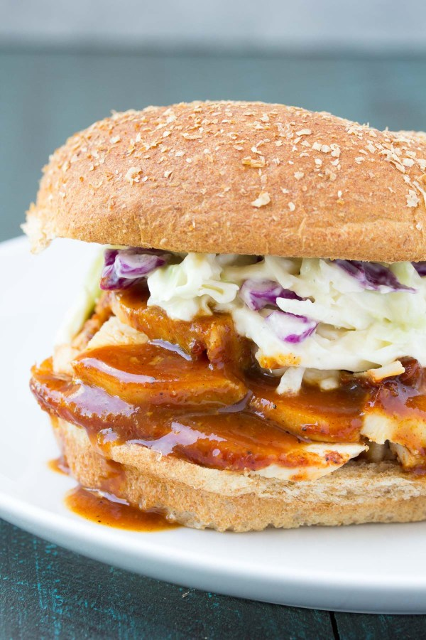 Crockpot BBQ Chicken Sandwich with coleslaw.