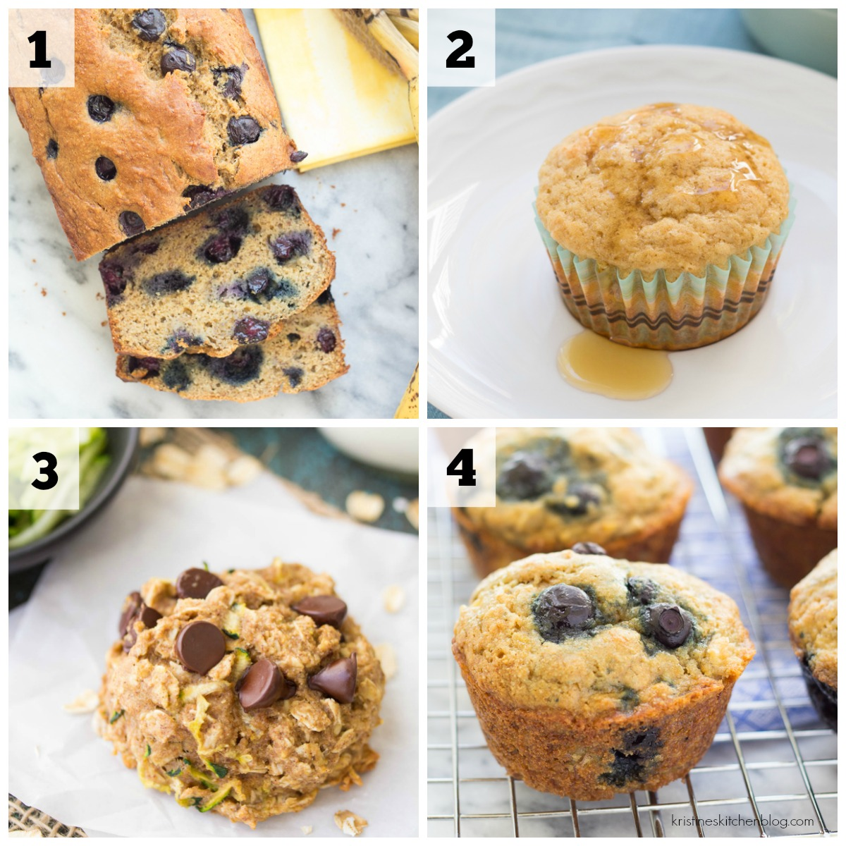 collage of banana bread and muffins