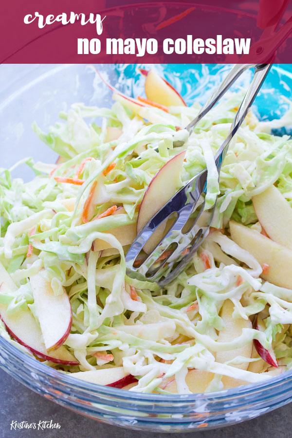 A creamy no mayo coleslaw made with Greek yogurt. This healthier coleslaw comes together in minutes and you'll love the addition of the sweet apple! Make it for a summer side dish for potlucks, bbq's and picnics!
