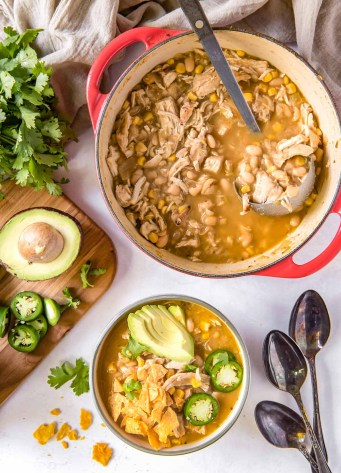 white chicken chili in a pot and bowl