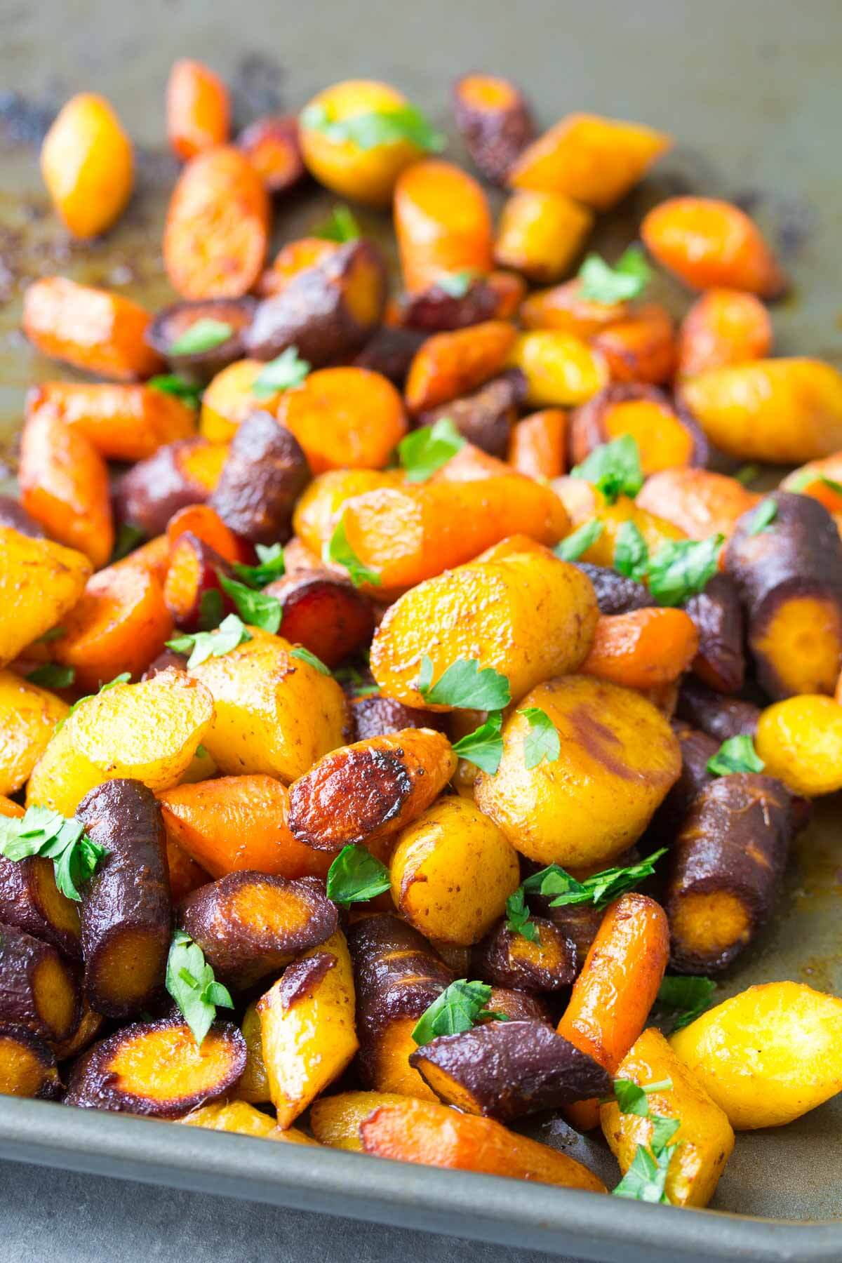 close up of roasted carrots just out of the oven
