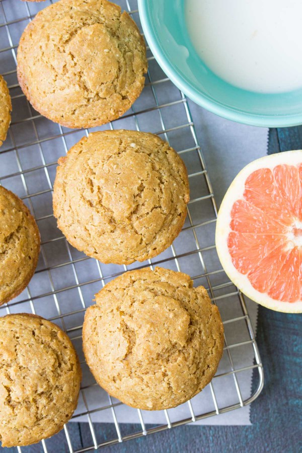 Whole Grain Grapefruit Ricotta Muffins. Healthy, hearty oat muffins with a sweet grapefruit glaze. Freezer friendly for make ahead breakfasts and snacks! | www.kristineskitchenblog.com