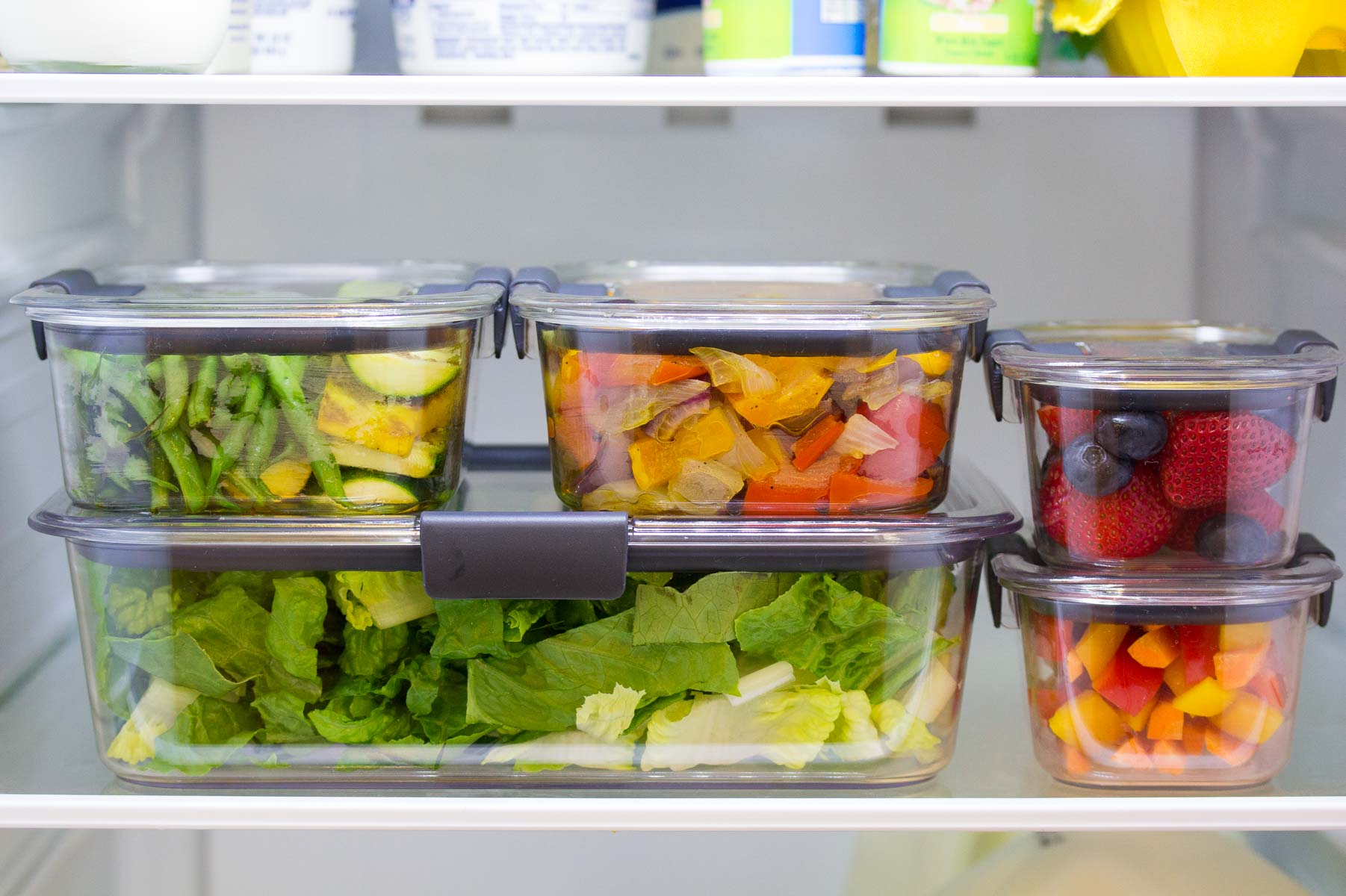 clear containers filled with meal prep ingredients