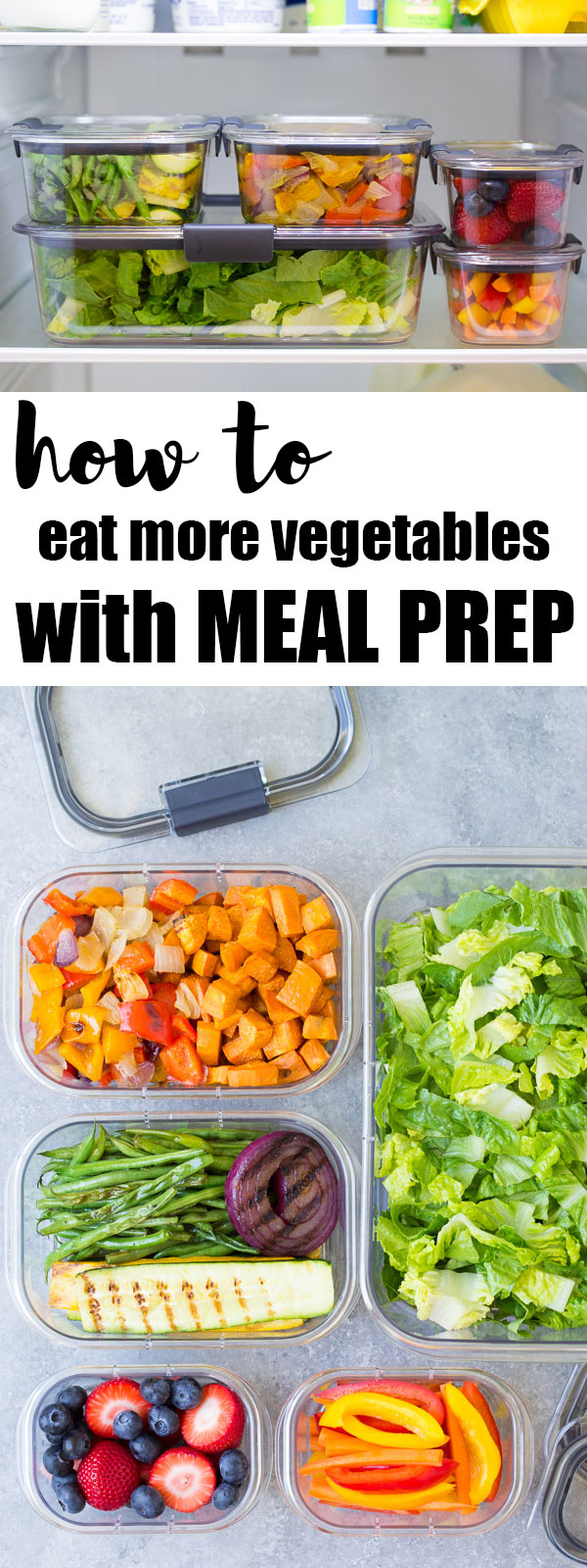 decorative image for pinterest showing all meal prepped vegetables and fruit in the refrigerator and containers