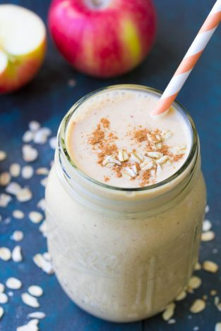 Pumpkin and apple are a perfect pair in this fall Pumpkin Smoothie. This healthy smoothie has oats, Greek yogurt, pumpkin and pumpkin pie spice!