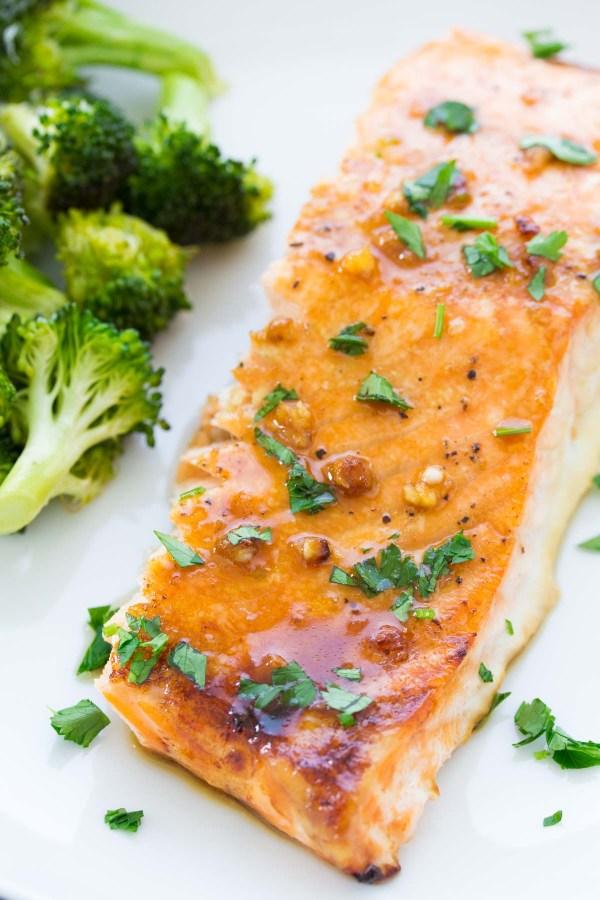 Close up of honey garlic baked salmon recipe.