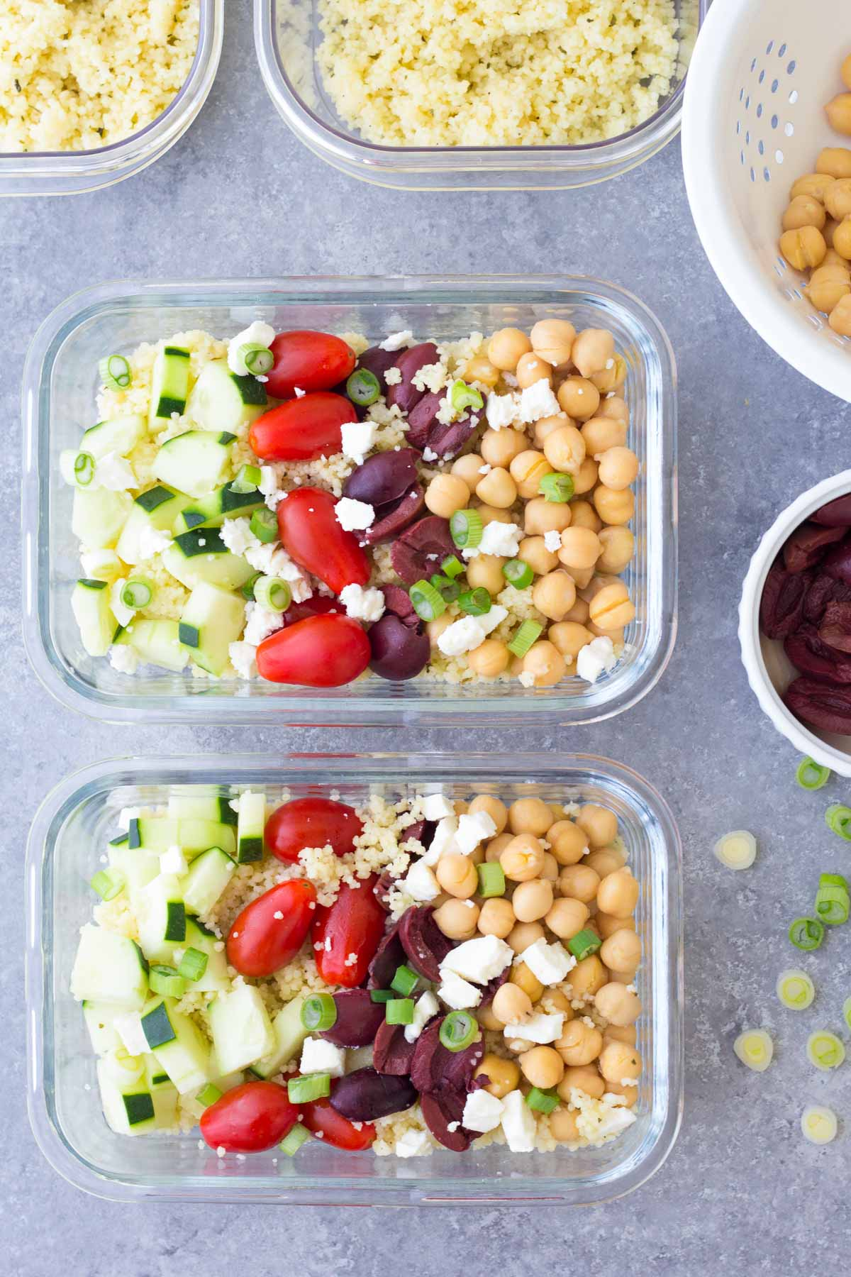 Chickpea Salad in meal prep containers