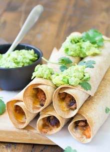 Sweet Potato and Black Bean Taquitos are great for meal prep! You can freeze them to bake later for an easy and healthy dinner.