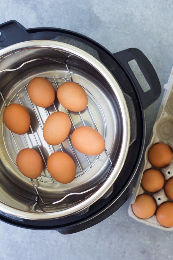 Eggs on a steamer rack trivet in an Instant Pot.