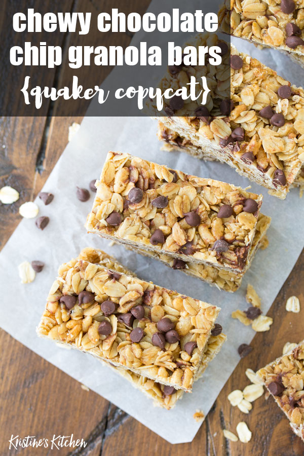 BEST homemade chewy chocolate chip granola bars recipe! These bars are an easy make ahead healthy snack for kids. They are freezer-friendly and gluten free-friendly.